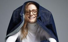 Download wallpapers Jessica Chastain, 4k, portrait, smile, American actress, jeans jacket, woman with glasses