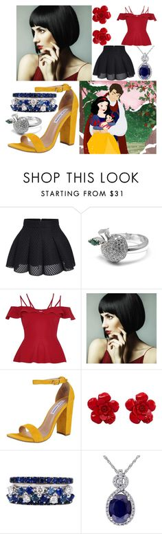 """""""Cara, daughter of Snow White"""" by elli-jane-xox ❤ liked on Polyvore featuring Disney, Pasquale Bruni, River Island, WigYouUp, Steve Madden, Chanel and FerrariFirenze"""