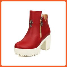 AllhqFashion Women's Solid PU High-Heels Chains Closed Round Toe Boots, Red, 40 - Boots for women (*Amazon Partner-Link)