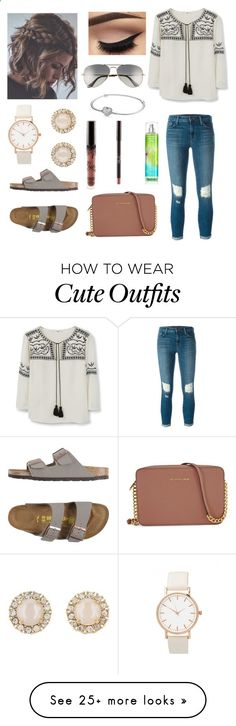 Cute first day of school outfit by agrava on Polyvore featuring MANGO, Birkenstock, J Brand, Michael Kors, Ray-Ban, Kate Spade and Pandora