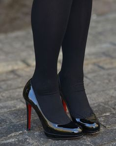 Stockings Heels, Nylons Heels, Pumps Heels, Black Opaque Tights, Black Pantyhose, Black Patent Heels, Black High Heels, Royal Blue Wedding Shoes, Cute High Heels
