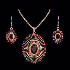 Bohemian Fashion Multi-colored Rhinestone Oval Shaped Jewelry Set For Women Earring Pendant Necklace - FREE SHIPPING - BlackHerbs Official Store