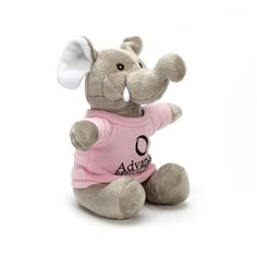"""Extra soft 7"""" stuffed plush toy  XS Elephant. Extra soft plush animal now features embroidered eyes. Inventory styles may vary upon product availability. Accessories priced separately. Stuffed Animal, plush toy, stuffed toy, custom."""