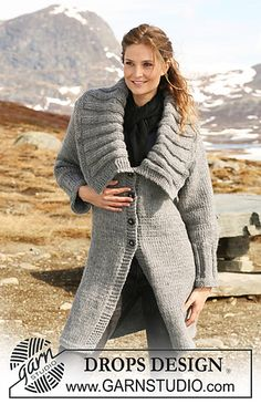 Ravelry: 117-8 Knitted jacket with large collar in rib pattern by DROPS design