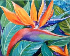 How to Paint a Bird of Paradise Colorful Flower - Acrylic Painting Lessons for Beginners to Advanced Artists