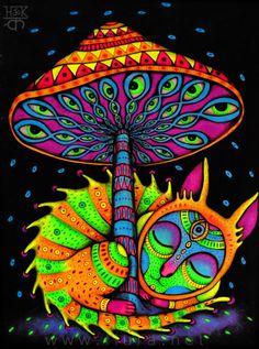 Psychedelic Drawings, Trippy Drawings, Art Drawings, Art Inspo, Inspiration Art, Art Hippie, Art Fractal, Art Visionnaire, Street Art