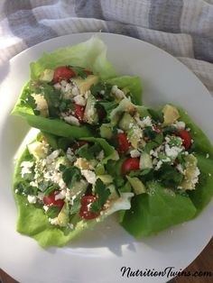 Mediterranean Lettuce Cups | Savory, Crunchy and Satisfying | Only 132 Calories | For MORE RECIPES please SIGN UP for our FREE NEWSLETTER www.NutritionTwins.com