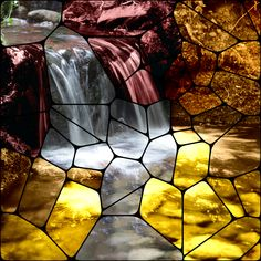 Create Collage, Basic Colors, Waterfall, Mosaic, Artwork, Pictures, Image, Photos, Work Of Art