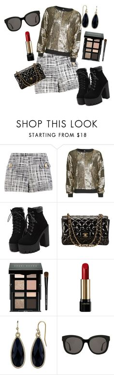 """""""metallic night out look"""" by millons ❤ liked on Polyvore featuring Boutique Moschino, Topshop, Chanel, Bobbi Brown Cosmetics, Lancôme, 1928 and Gentle Monster"""