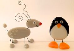 Fused glass reindeer and penguin
