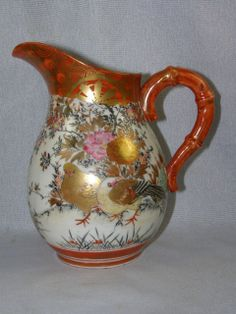Antique Japanese Kutani Porcelain Pitcher of Birds and Flowers
