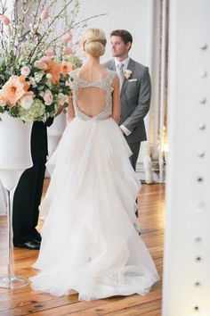 wedding dress witth beaded back and layers of tulle