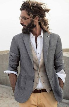 grey blazer, grey-khaki cardigan, white shirt, camel pants, seal brown belt.