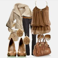 wardrob, sweater, boho chic, heaven brown, chocolate brown, beauti, fashion cloth, bags, date night outfits