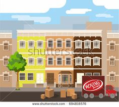 Car for delivery of goods and cartons on the streets of the city. Home delivery. Colorful vector illustration.