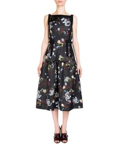 Adelle Sleeveless Floral-Print Sundress, Black/Multi