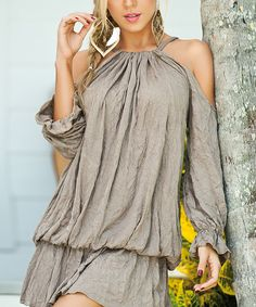 AM PM Desert Tan Crinkle Cutout Tunic | zulily