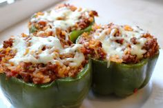 Stuffed Bell Peppers....wasn't sure what I would think.     BUT I was very impressed, these were so  good! And easy!     Basedoff this ...