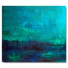 Caribbean Blue painting in teal blue, turquoise & ultramarine blue - by brian elston