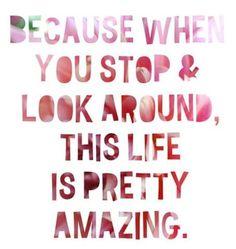 Porque cuando paras y miras a tu alrededor, la vida es bastante sorprendente