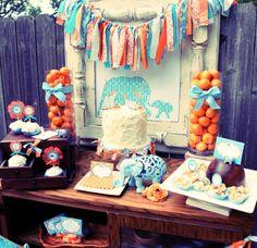 PRECIOUS baby shower ideas!!  love the aqua and orange!!