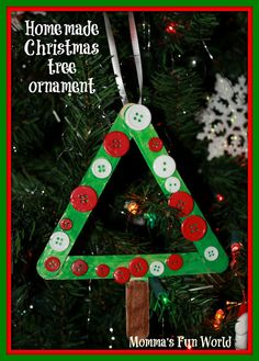 christmas projects with popsicle sticks | Momma's Fun World: Popscile stick Christmas tree ornament/frame
