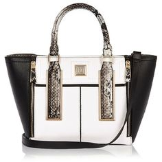 River Island White print mini winged tote handbag ($70) ❤ liked on Polyvore featuring bags, handbags, tote bags, bags / purses, shoppers / tote bags, white, women, white handbags, shopping bag and tote purses