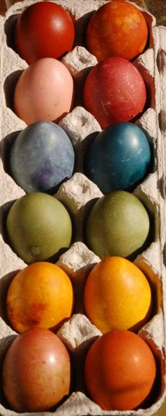Many of these all natural non-toxic egg dyes can be made from kitchen scraps. They're all made with easy to find fruits, vegetables and herbs.