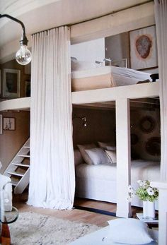 Bunk beds for the kids' room, except I would give each bed its own curtain!