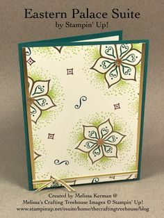 DIY handmade card using the Eastern Palace Suite by Stampin' Up! and the new Gold Faceted Gems. Created by Melissa Kerman Stampin' Up! demonstrator since 2003.