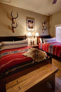Deer Southwestern Bedroom Design