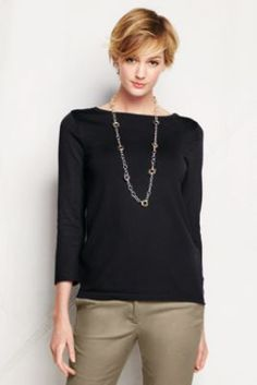 Women's 3/4-sleeve Performance Boatneck Sweater from Lands' End (available in black, light blue, navy, and raspberry)