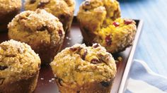 OMIT NUTS Brighten breakfast—or mid-afternoon, for that matter—with these pumpkin muffins filled with dried cranberries and chopped pecans. Ginger and cinnamon add delicious warmth and depth. Cranberry Muffins, Muffin Recipes, Breakfast Recipes, Breakfast Ideas, Breakfast Pastries, Vegetarian Breakfast, Brunch Recipes, Dessert Recipes, Pumpkin Recipes