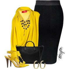 A really gorgeous yellowish gold fish blouse with matching heels period actually a booty with the toe out. And a black skirt fitted works well with this outfit. Komplette Outfits, Classy Outfits, Casual Outfits, Fashion Outfits, Fashion Trends, Nice Outfits, Love Fashion, Fashion Looks, Womens Fashion
