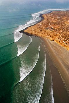 Surf lines at Scorpion Bay, San Juanico, Mexico - The sandy beaches extend for more than 20 miles, south to Punta San Gregorio. Waves here frequently provide fine surfing opportunities.