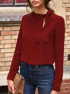 Shopping Bow Knot Long Sleeve Plain Blouse online with high-quality and best prices Shirts & Blouses at Luvyle. Trendy Outfits, Fashion Outfits, Womens Fashion, Latest Fashion, Mode Shop, Cut Shirts, Casual Tops, Pattern Fashion, Shirt Blouses