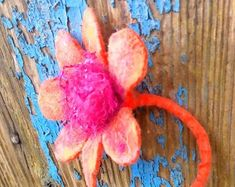Womens brooch dress, bag or hair clip. Hand made felted with merino and recycling ribbons. No sewing. No two flowers are the same. It was done without needles or glue. Hand Flowers, Orange Flowers, Flower Brooch, Mother Gifts, Bookmarks, Gifts For Women, Maya, Flora, Recycling