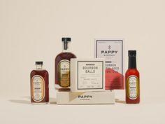 Pappy & Company - SDCO Partners / Stitch Design Co. Print Packaging, Custom Packaging, Packaging Design, Whiskey Bottle, Vodka Bottle, Bourbon Balls, Cocktail Mixers, Custom Website Design, Office Set