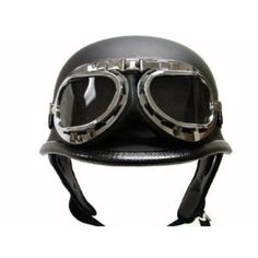 Flat Matte Black German Style Motorcycle Cruiser Touring Scooter Half Helmet DOT with Pilot Goggles (Small)