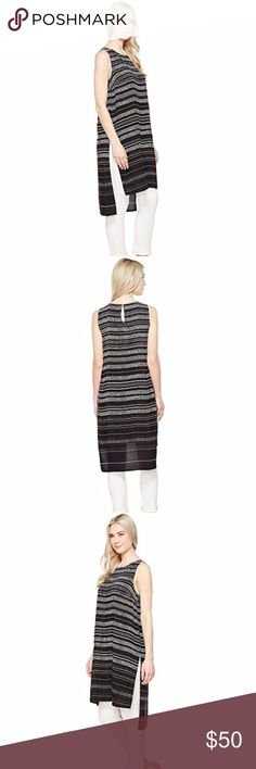 Vince Camuto Sleeveless Pebble Stripe Tunic Size L Lightweight viscose fabrication flaunts a pebble stripe pattern. Pullover construction. Jewel neckline. Sleeveless design. Keyhole cutout at back with button closure. Side slits. High-low hemline falls at extended length. 100% viscose. Length: 43 in 🚫Trade🚫Off Poshmark.Offers below 50% of asking price are automatically declined. Vince Camuto Tops Blouses