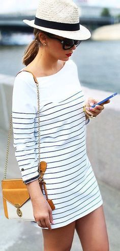 street style / casual striped dress