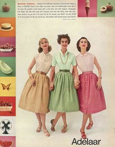 """Advertisement for cotton-blend blouses and skirts by Adelaar, 'Vogue' magazine, May 1957. """"Mix yourself a pink blouse with a coral skirt, mint with seagreen, champagne with wheat, lilac with helio, aqua with turquoise, blue haze with Tahoe, white with navy, black, white, or as you like it."""""""