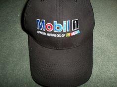 Men's Black MOBIL 1 NASCAR Chase Authentics Embroidered Hat, Velcro Strap, GUC! #ChaseAuthenticsMobil1NASCAR #BaseballCap