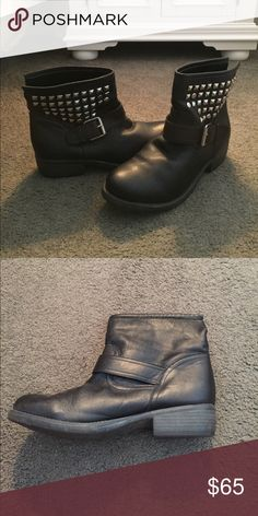 Steve Madden Moto ankle boots Ankle boots with silver studs and a buckle  Left boot does has a scuff on the inside, can be polished. Cute boots! Steve Madden Shoes Ankle Boots & Booties