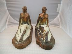 VINTAGE ART DECO NUDE LADY BOOKENDS LEG ARCHED BRONZE WHITE SITTING FRANKART ERA #ArtDeco