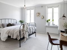 Light bedroom with workspace