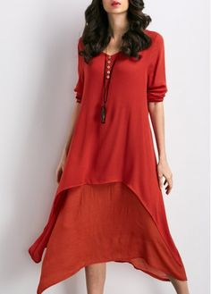 V Neck Patchwork Red Straight Midi Dress with cheap wholesale price, buy V Neck Patchwork Red Straight Midi Dress at Rotita.com !