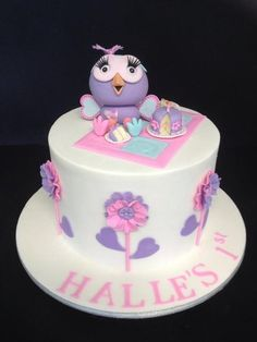 Hooterbelle for Halle Cake by Unusual cakes for you Pink Hoot Owl Cake Owl Cake Children's Birthday Cakes party Girl Boys Kid Kids Fondant Cakes, Cupcake Cakes, Birthday Cake Girls, Birthday Cakes, Birthday Ideas, Little Girl Cakes, Owl Cakes, Kid Cupcakes, Purple Cakes