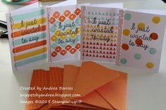 Set of four mini thank-you cards and envelopes made with the February 2015 Paper Pumpkin kit (and other supplies).