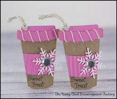 Coffee tags with Watermelon Taffy Trendy Twine using Lettering Delights files